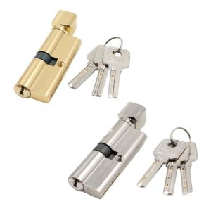 1Set Door Cylinder Lock Anti-theft Entrance Metal Door Lock with 3 Keys for Home