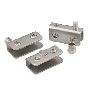 Stainless Steel Glass Door Pivot Hinge Double Head Magnetic Catch Set for 5-8Mm Glass Door