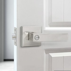 LH3008 stainless steel door handle with locking cylinder Polished rear front lever lock interior home security accessories