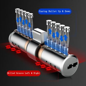 Super C-class lock cylinder Unibody stainless steel Shell Anti violence double bullet Milled groove Side post anti-theft core
