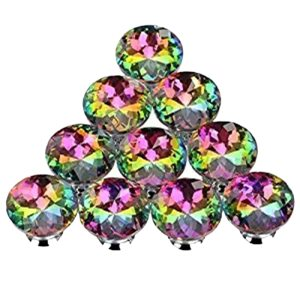 10PCS 30MM Colorful Crystal Knobs Glass Cabinet Knobs Drawer Pulls Handle for Home Cabinet Drawer and Dresser