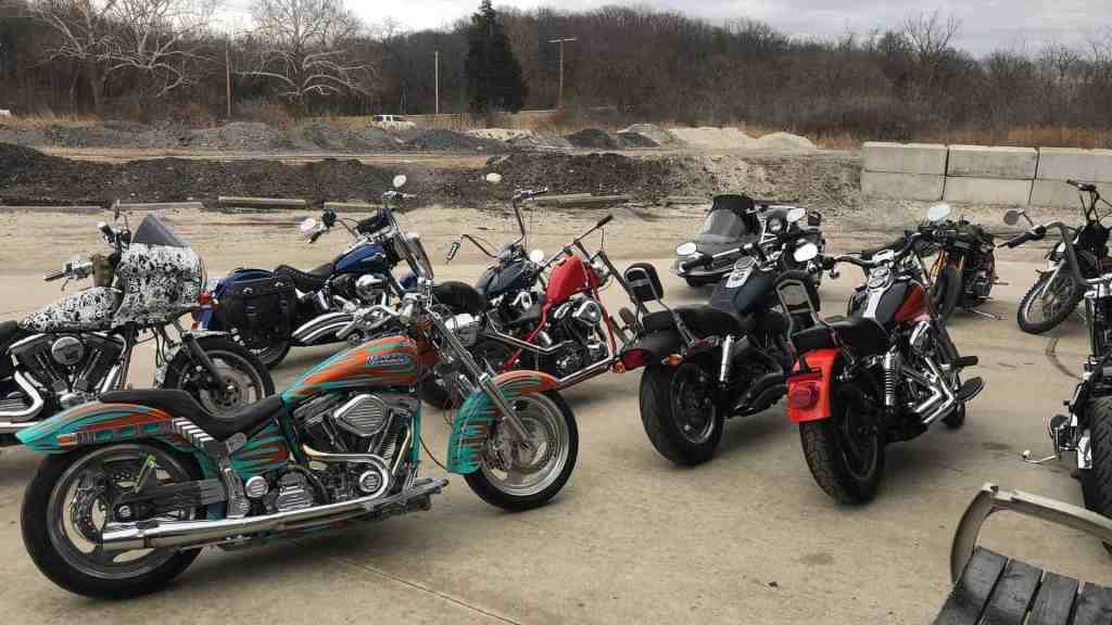 Lining up for motorcycle inspections