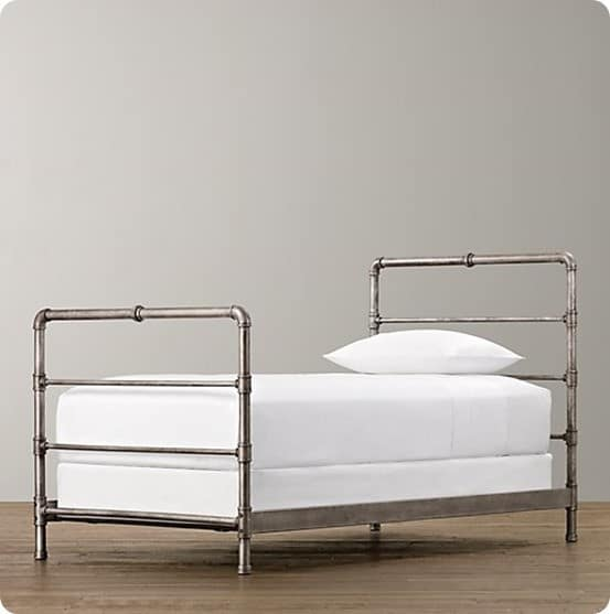 Industrial Wood And Metal Pipe Bed