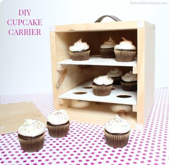 Wood Cupcake Carrier Box