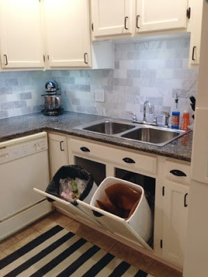 8 ways to hide your kitchen trash can