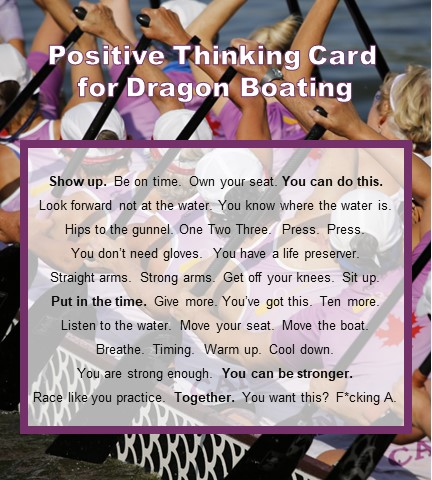 Positive Thinking card for Dragon Boating