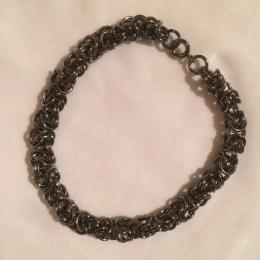 chainmaille, bracelet, earrings, abalone, byzantine