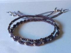 purple macrame bracelets with silver beads