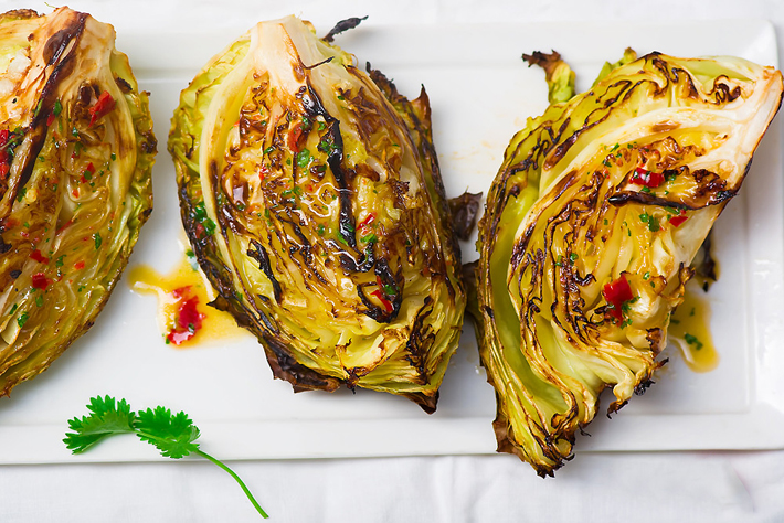 Grilled Cabbage With Lime Dressing