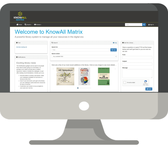 library management system knowall matrix interface