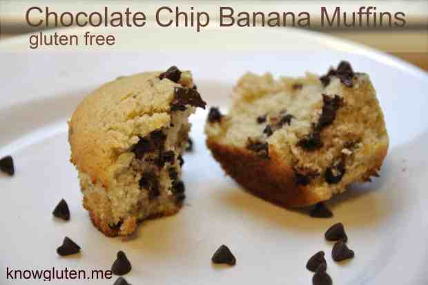 Chocolate chip banana muffins from knowgluten.me