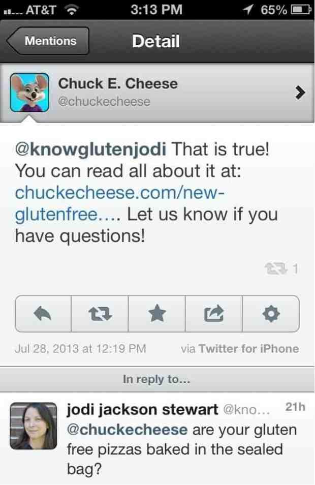 chuck e cheese tweet