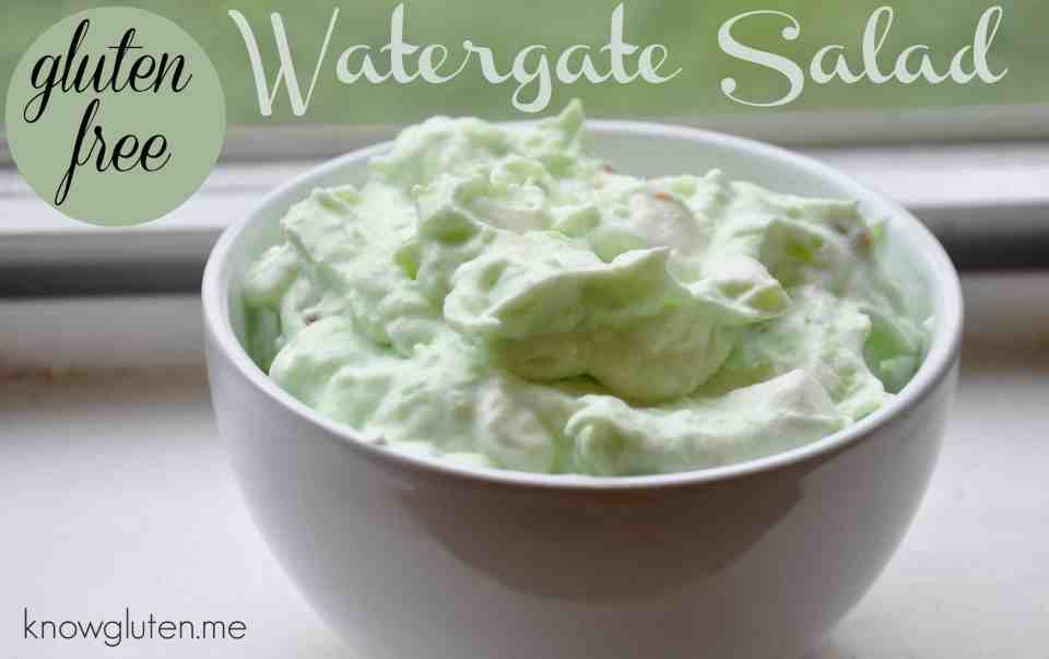 Gluten Free Watergate Salad in a white bowl by a window.