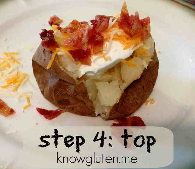how to make loaded baked potatoes step 4 top - knowgluten.me