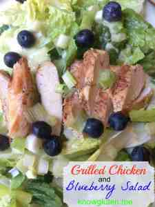 Grilled chicken and blueberry salad from knowgluten.me