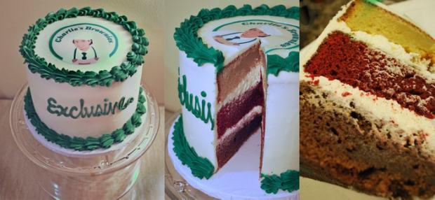 three layer brownie cake