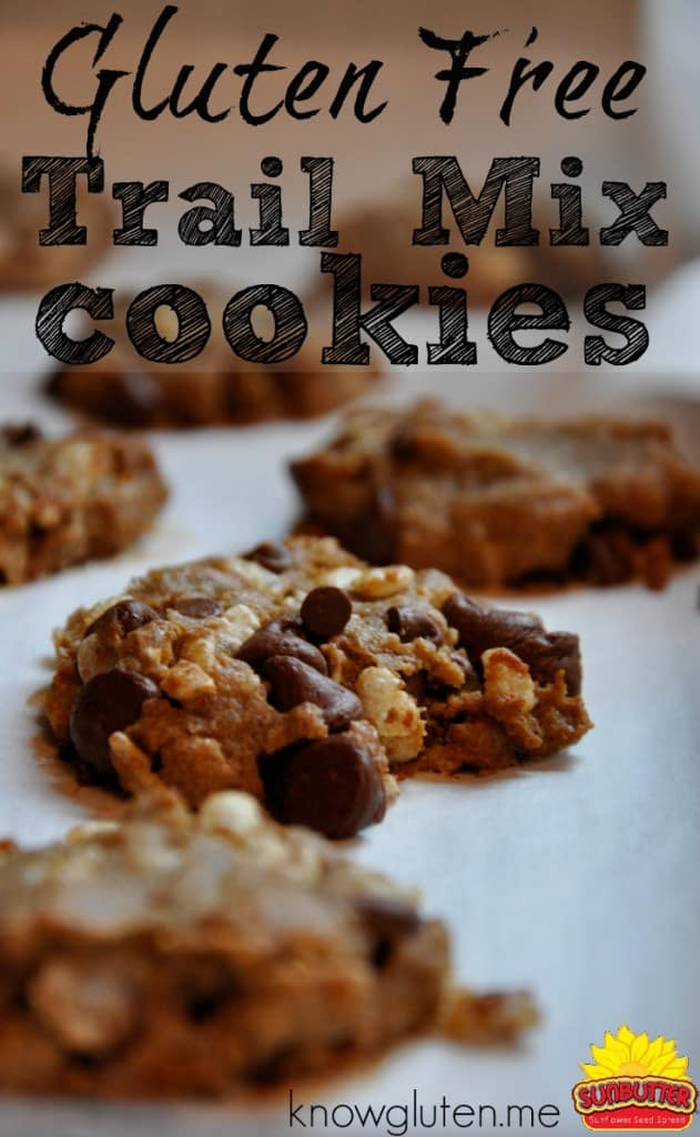 gluten free, peanut free sun butter trail mix cookies from knowlguten.me