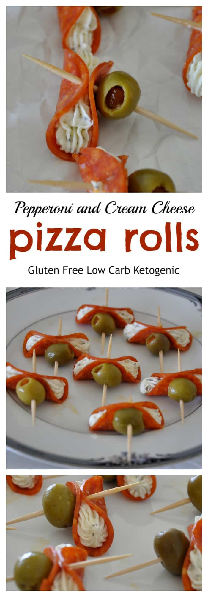 Three views of pepperoni and cream cheese pizza rolls.