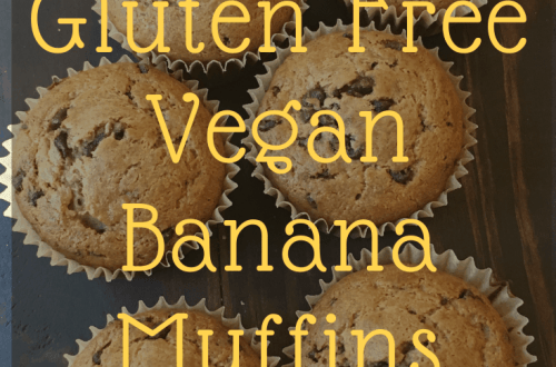 a tray of gluten free vegan banana muffins