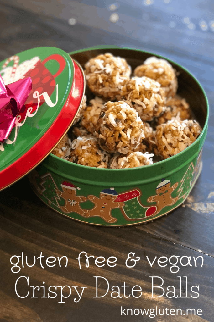 gluten free and vegan crispy date balls in a dessert tin with a bow on the lid