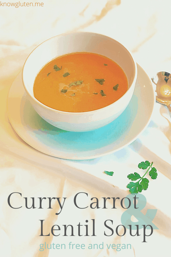 curry carrot and lentil soup - gluten free and vegan from knowgluten.me side shot of bowl