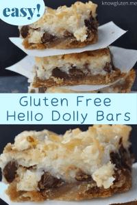 closeup pin of gluten free hello dolly bars