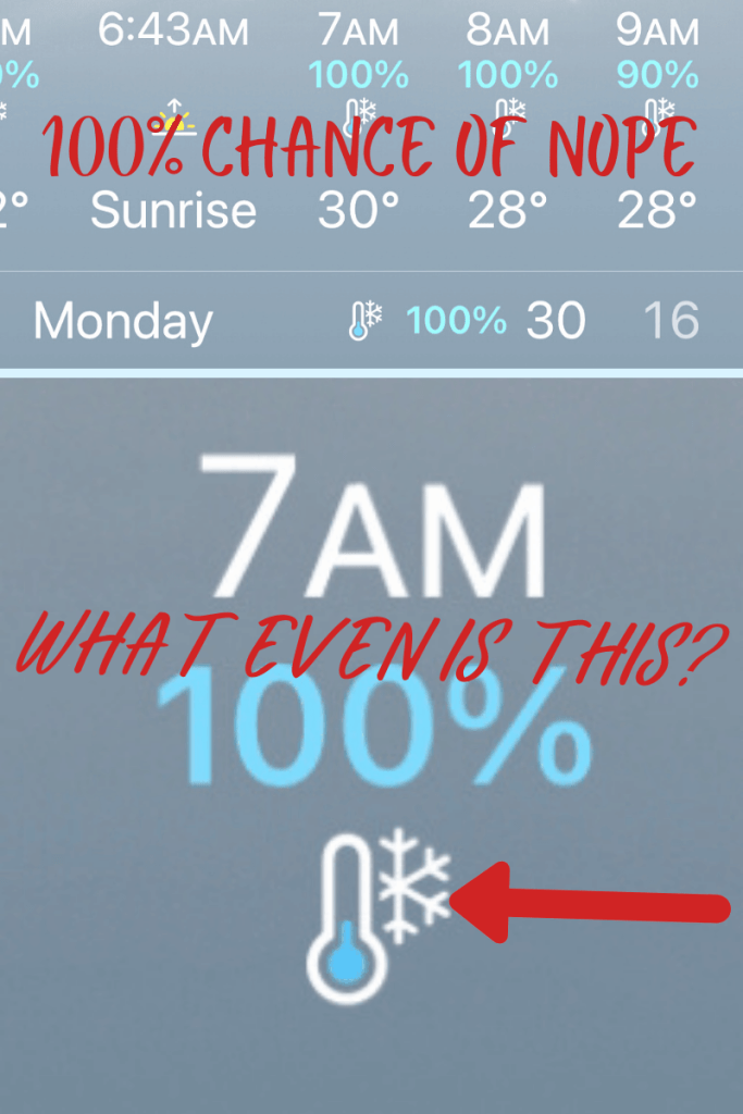 a weather forecast from a weather app with a thermometer with a snowflake.