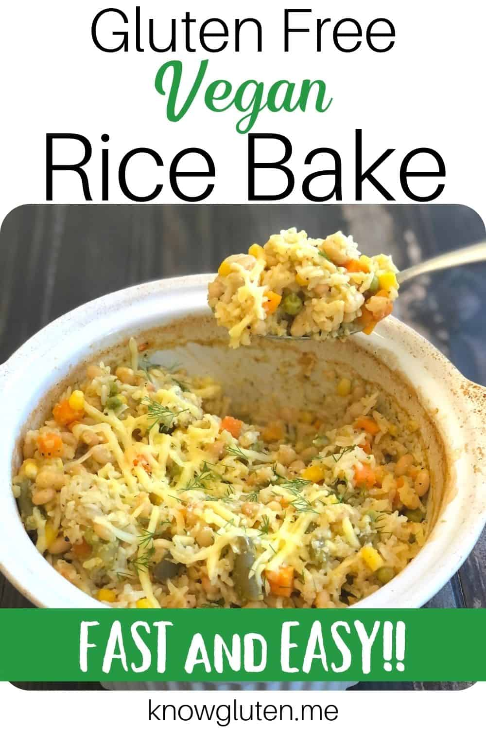 Vegan Rice Bake being scooped out of a white baking dish with a metal serving spoon.
