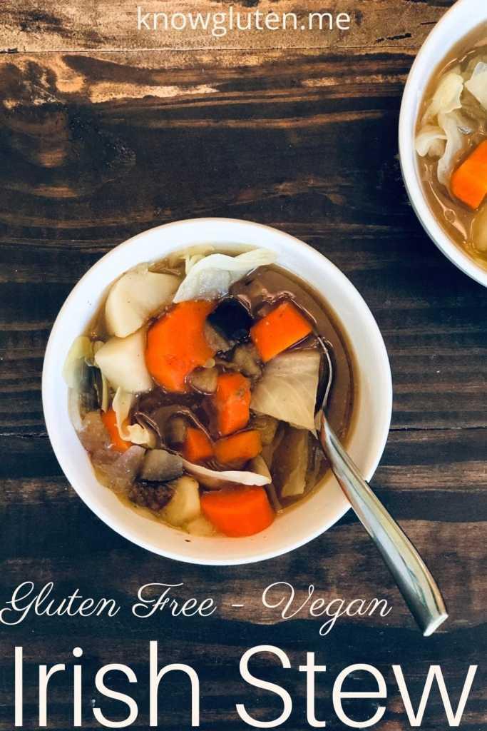 two bowls of vegan Irish stew.