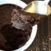A closeup of a spoonful of vegan mug cake.