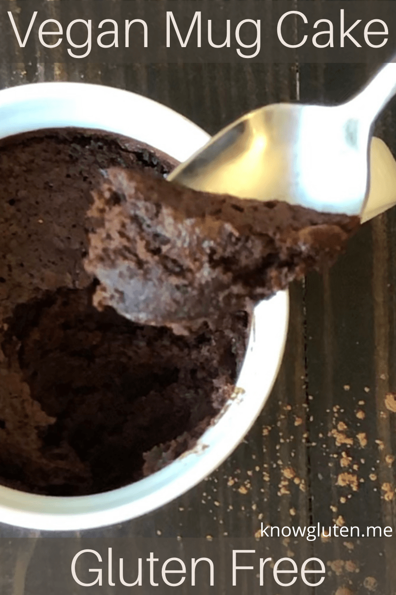 A closeup of a spoonful of vegan mug cake.
