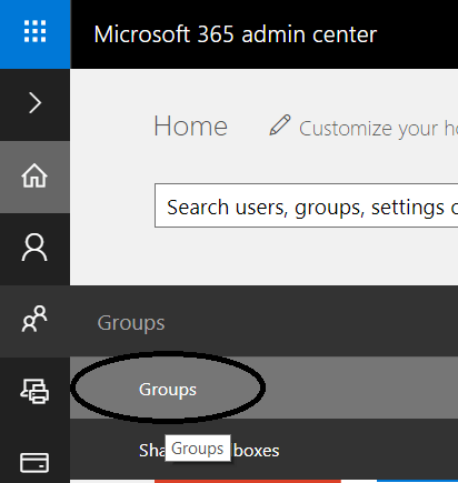 fig 1 Office 365 Admin Center - Groups