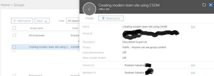 fig 3 Office 365 Group Details