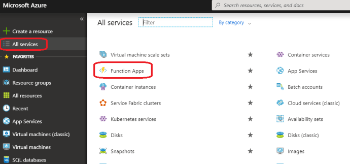 Azure – Go to Azure Function Apps.