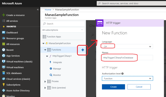 Azure - Add New Azure Function to existing Azure Function App