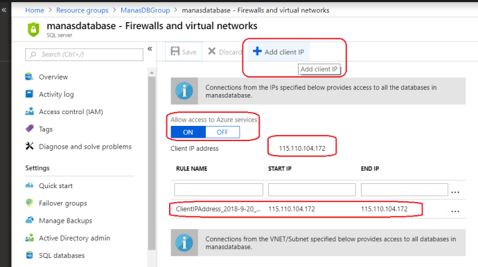 Azure - Configure Firewall for Azure Database server