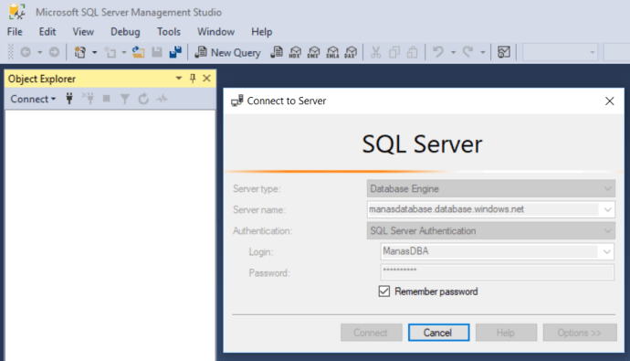 Azure - Connect to Azure SQL Database