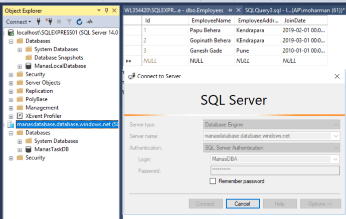Azure - Azure Database Server before exporting the local database