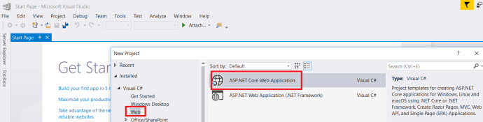 Create New Web App in VS 2017