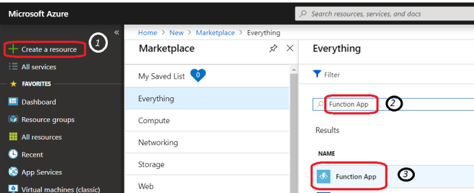 Azure –Find Azure function app and start with create a new function