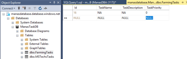 Azure - Data table before run the table with correct value