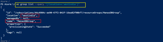 List of Azure Resource Group In West India