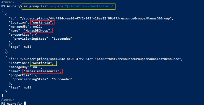 Create new Azure Resource Group under West India