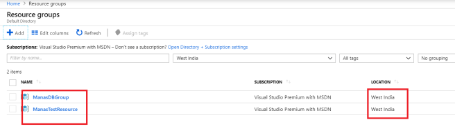 Created new Azure Resource Group under West India