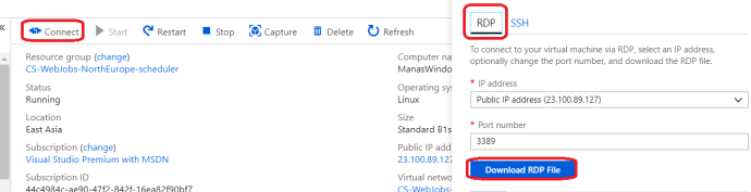 Download RDP of the VM