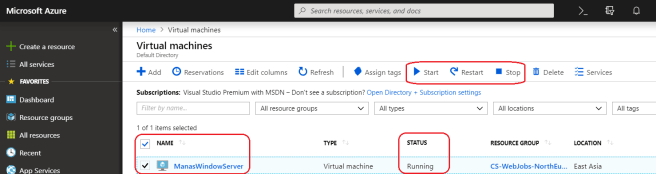 Vertual machine list in the Azure portal