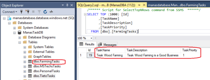 Azure - New Task added to the database