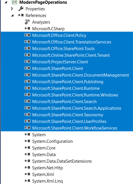 fig4_References added after installing Microsoft.SharePoint.CSOM NuGet package