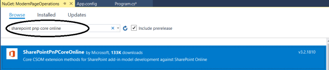 fig5_Installing SharePoint PnP Core Online package