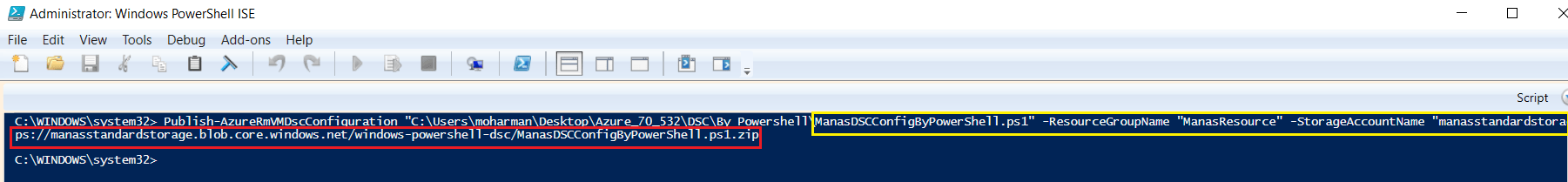 Published Powershell DSC To Azure